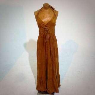 波希米亞嬉皮麂皮感棕色露背綁帶長洋裝