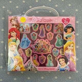 日本迪士尼樂園公主印章組 有附2色印泥