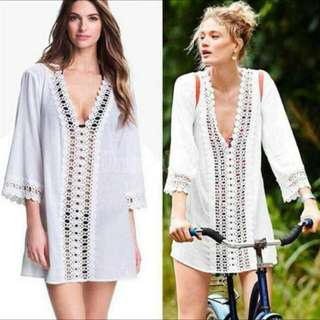 BN Lace Crochet Sheer Chiffon Swimwear Beach Dress