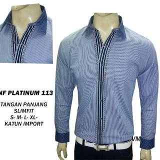 Kemeja Fashion pria Long Shirt Kombinasi Slimfit Model Baru Nf Plat 113
