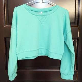 藍綠色短版上衣