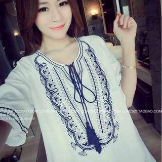 🌹快速預購🌹圖騰刺繡流蘇洋裝
