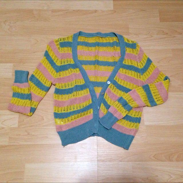 彩色條紋針織衣/二手/9成5新