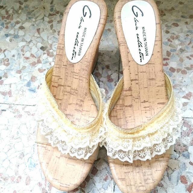 厚底蕾絲拖鞋