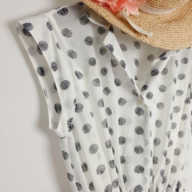 可愛氣質風/水玉點點雪紡洋裝(附全長內裡)