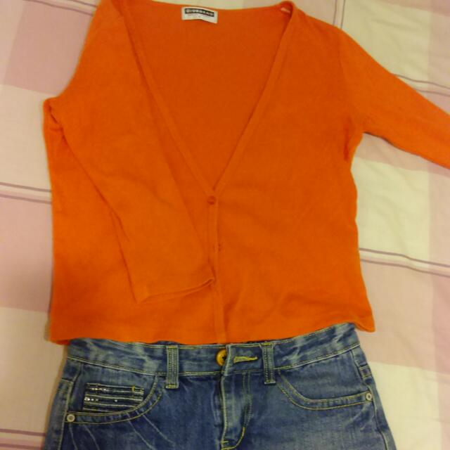 Giordano橘色七分袖薄外套