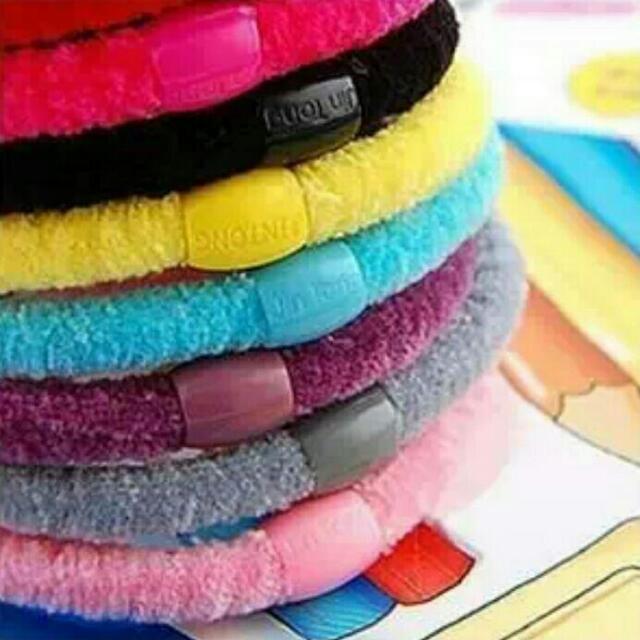 高彈力 糖果色 絨絨髮圈髮束 只有一包100條 1條3元,1包280