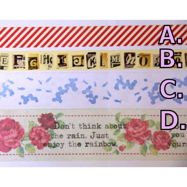 【分裝】 條紋 / 字母 / 金魚 / 玫瑰 多款 紙膠帶