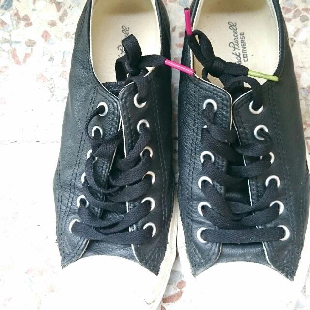 Converse Jack Purcell黑色皮革帆布鞋