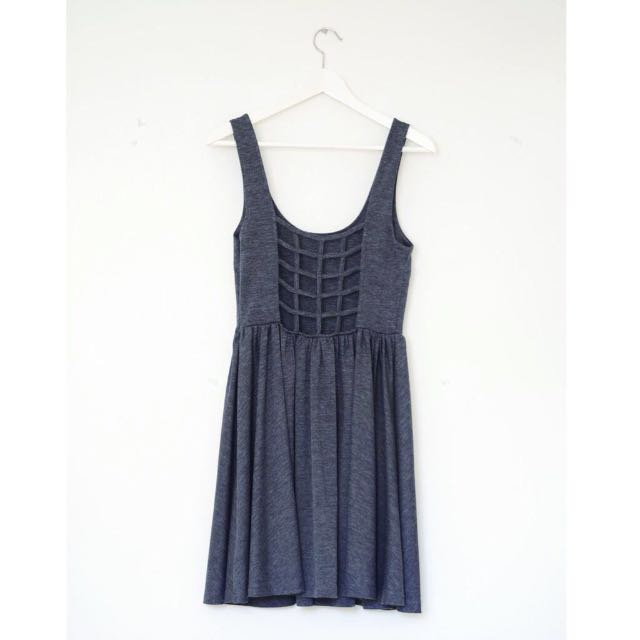 JACK BY BB DAKOTA Cage Back Skater Grey Marl Dress