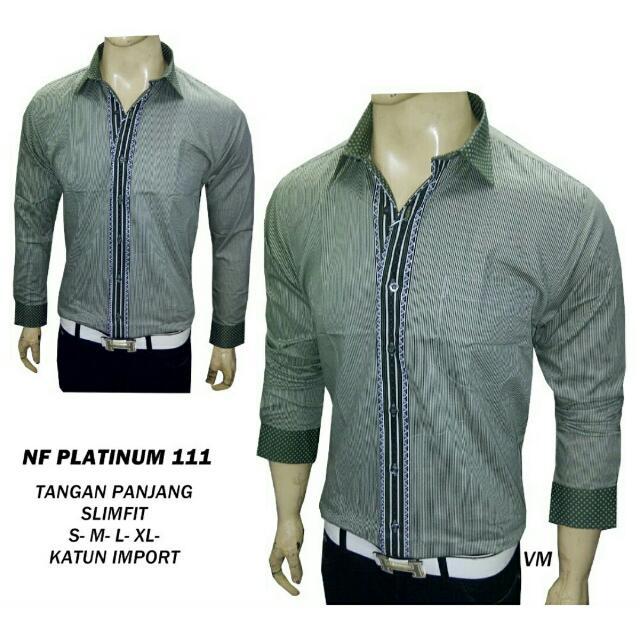 Kemeja fashion pria Bahan katun slimfit tangan Panjang - NF PLAT 111