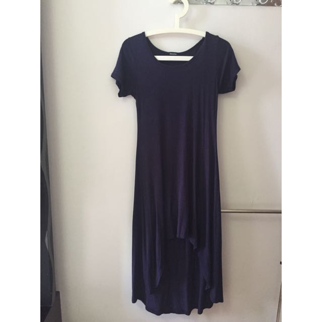 Navy Blue Short Front Long Back Basic Jersey Dress
