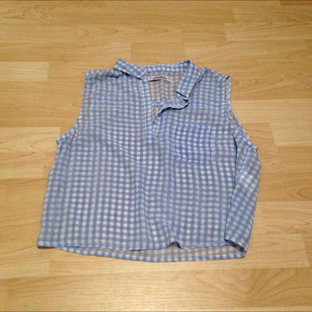 Pull&bear 藍色格紋短版小襯衫/二手/9成5新