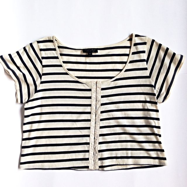 TOPSHOP Striped Cropped Top
