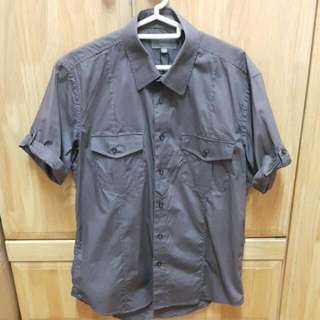 Padini Brown Short Sleeve Shirt With Two Front Chest Pocket - M Size