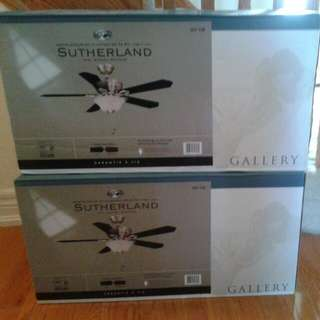 "Hampton Bay Sutherland Lighted 52"" Ceiling Fan. New In Box! Retail $150 Each"