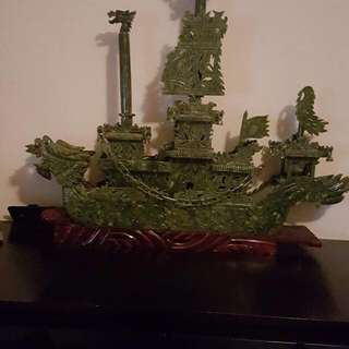 100% Hand Carved Jade Ship