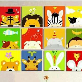 (滿千免運)數字油畫 動物連連看 一組12幅(等於一幅63元) 20×20公分 讓寶貝訓練耐心 建立成就感自信心