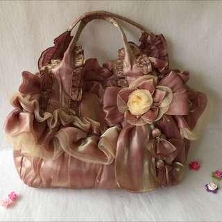 👸公主系 彩虹紗香檳粉玫瑰側背包