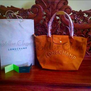 BN Longchamp Embossed Camel Large Long Handle Tote Bag LLH
