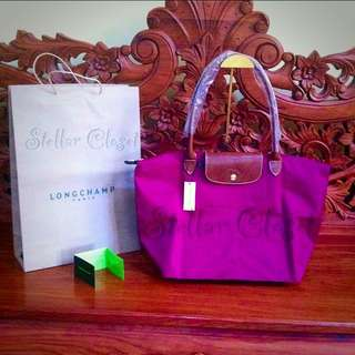 BN Longchamp Le Pliage Large Long Handle LLH Tote Bag Fuchsia