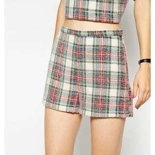 Asos Fluffy Check Short, New, Size 8 UK, $13