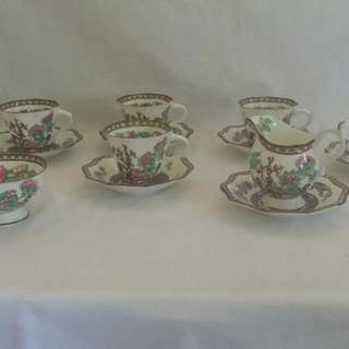"""Coalport """"Indian Tree """" Teacup and Saucer with Creamer and Sugarbowl"""