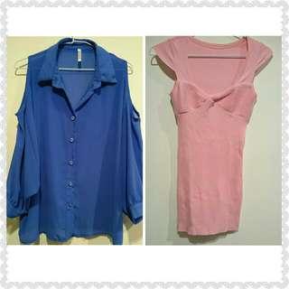 藍色雪紡露肩七分袖上衣&克妹款性感芭比粉洋裝