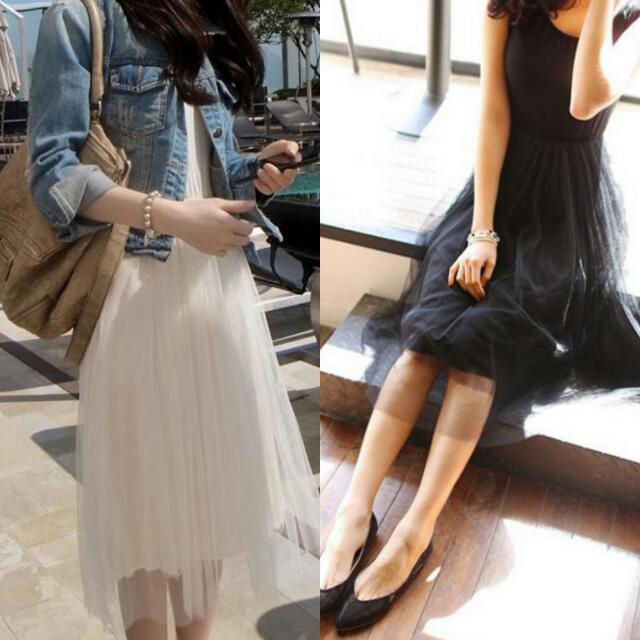 ✅氣質紗裙/長/短/2款有內襯