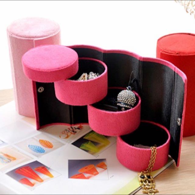小圓桶筒三層飾品盒/首飾盒/收納盒