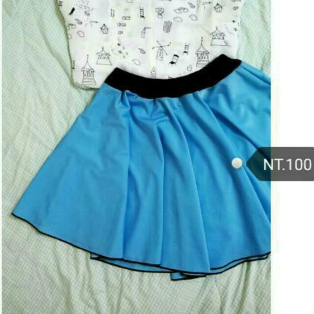 (含運)水藍鬆緊短裙