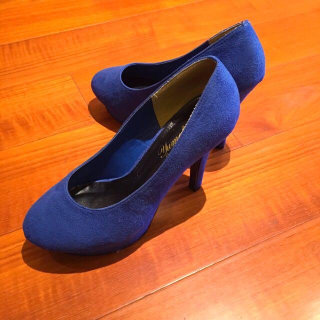 全新》寶藍麂皮高跟鞋