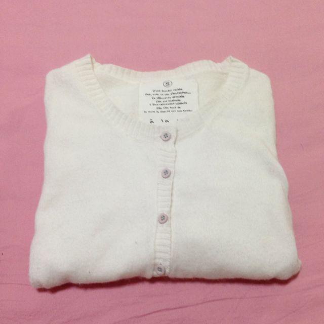 A La Sha白色針織外套