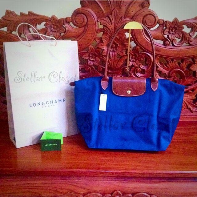 BN Longchamp Le Pliage Large Long Handle LLH Navy Blue Tote Bag