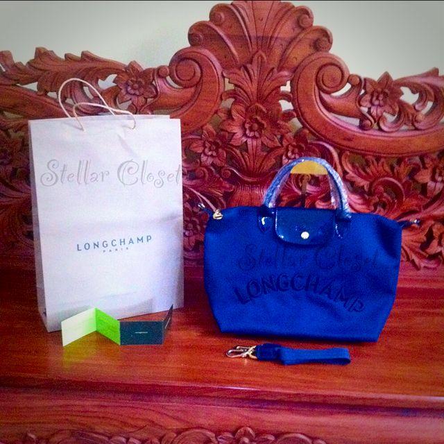 BN Longchamp Neo Embossed Medium Convertible Navy Blue Bag