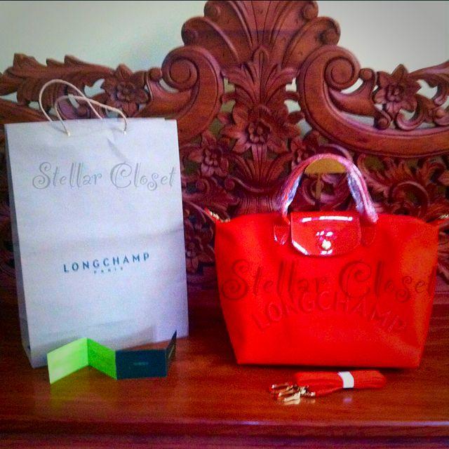 BN Longchamp Neo Embossed Medium Convertible Orange Bag