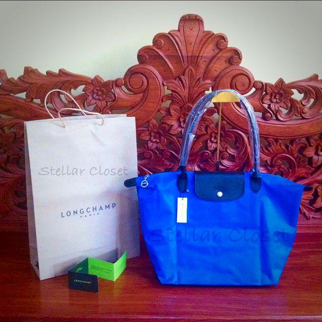 BN Longchamp Sarah Morris Blue LLH Large Long Handle Tote Bag
