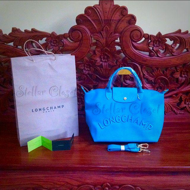 BN Longhamp Neo Embossed Medium Convertible MSH Bag Turquoise