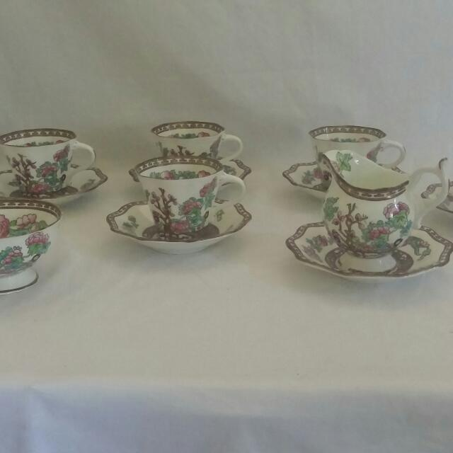"Coalport ""Indian Tree "" Teacup and Saucer with Creamer and Sugarbowl"