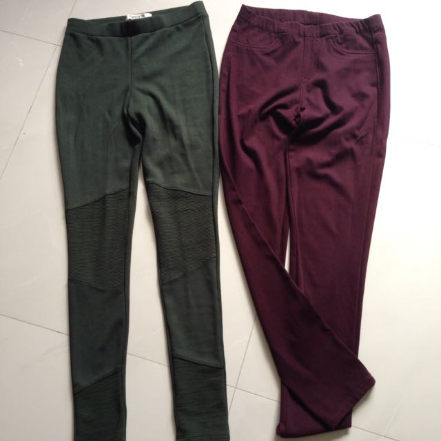 04f612ab5f2773 Forever21 And Uniqlo Legging Pants, Women's Fashion on Carousell