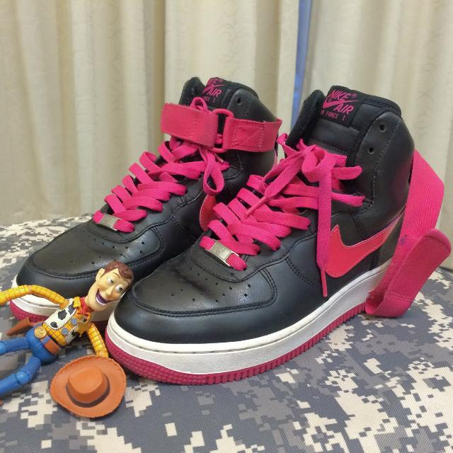 Nike Air Force 1 high 黑底桃紅 女鞋 底星星都還在喲 us9 / 26cm