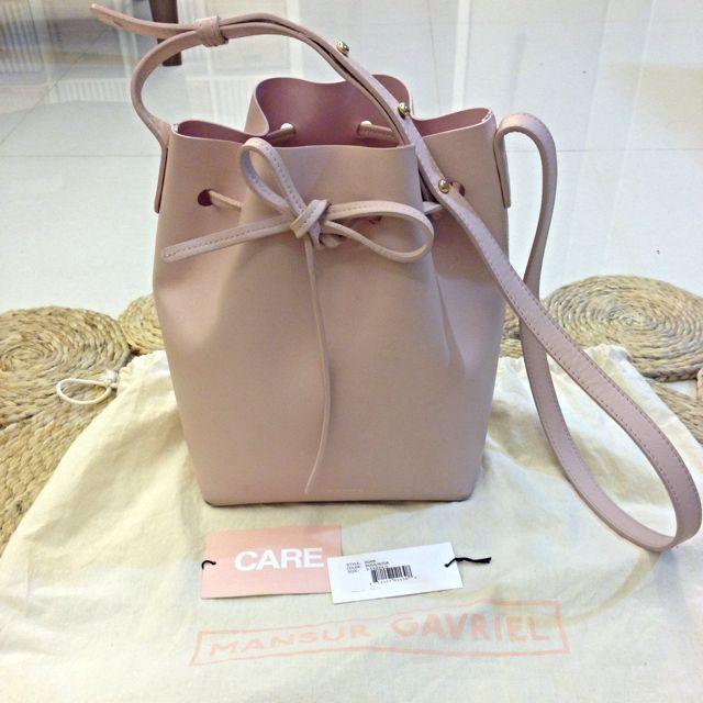 Pre-loved Mansur Gavriel Mini Bucket Bag In Baby Pink (No Trade ...