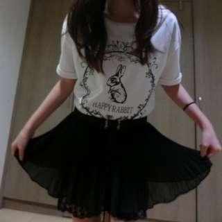 (新)百貨專櫃POONE 絲質黑色氣質短裙