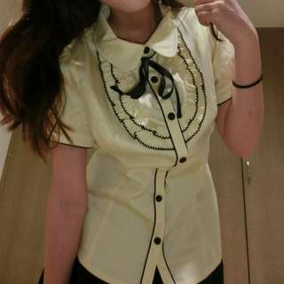 (新)百貨專櫃MA TSU MI 黃色學院風襯衫👚