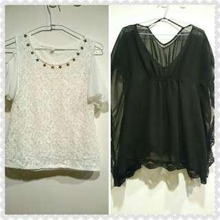 優雅名媛風~白色露肩&黑色蝙蝠袖雪紡上衣