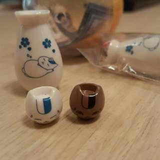 夏目友人帳 貓咪老師 陶器系列 酒杯組吊飾