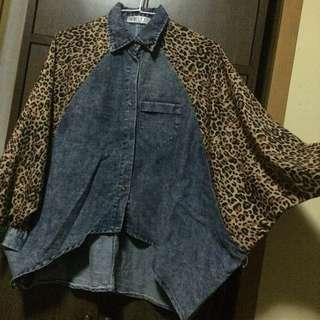 二手/ 豹紋拼接牛仔襯衫