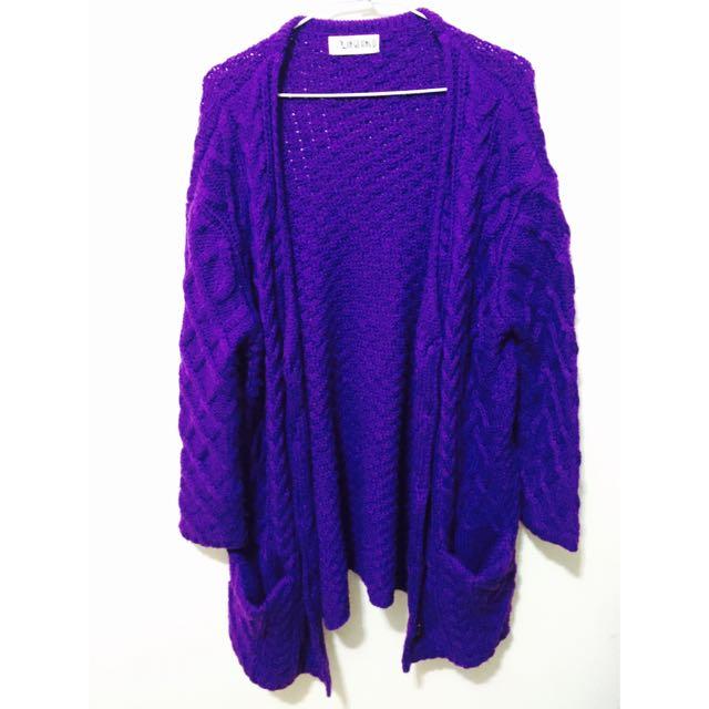 (保留)菱格紋藍紫色毛衣外套