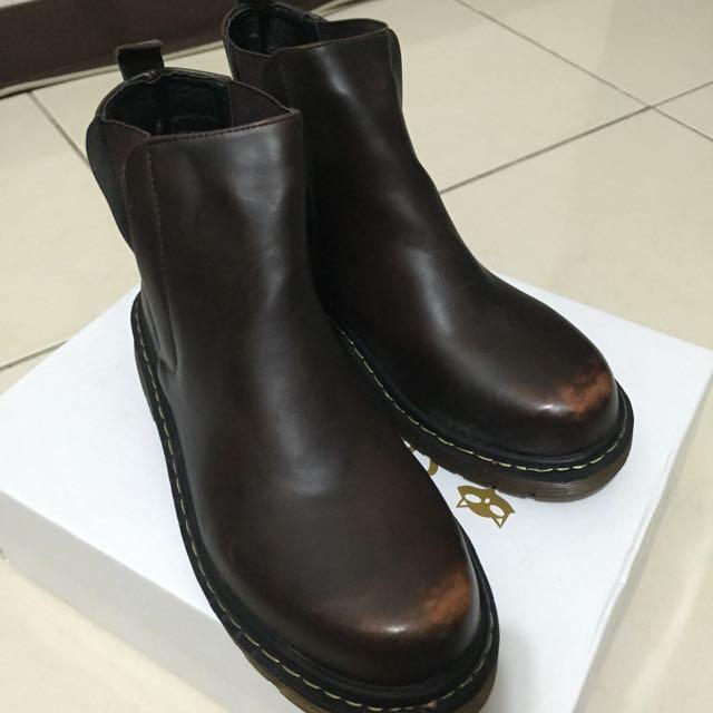 (全新)咖啡刷色短靴 - 39