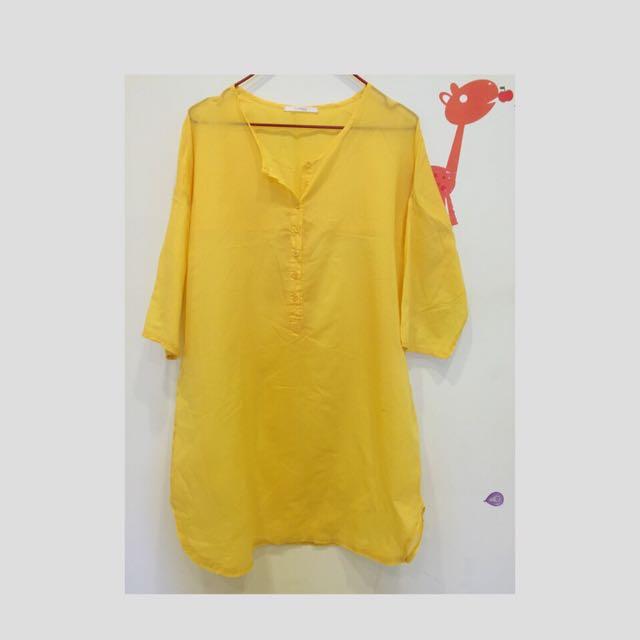 《二手》超舒服棉紗亮黃長版